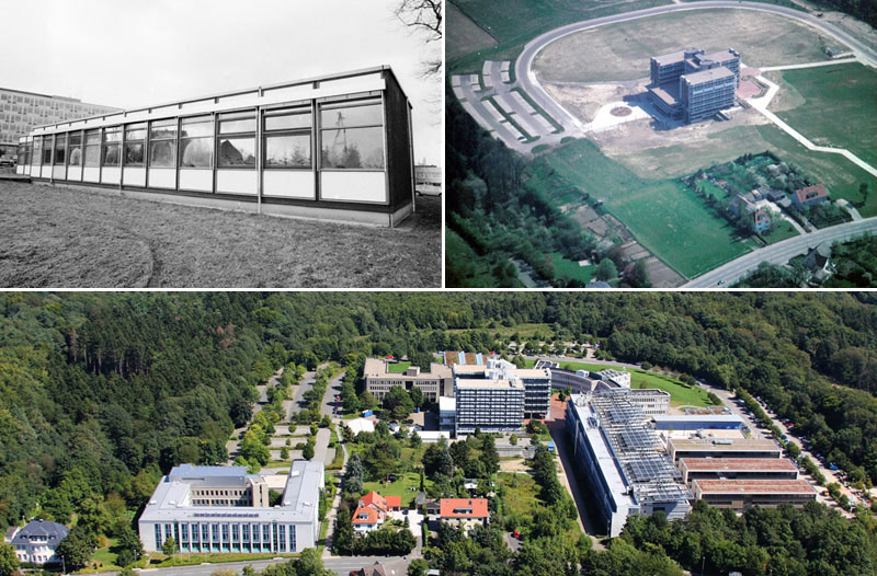 Collage aus drei Bildern, die den baulichen Fortschritt auf dem FernUni-Campus zeigen.