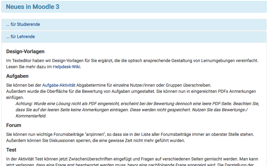 "Screenshot ""Neues in Moodle 3"""