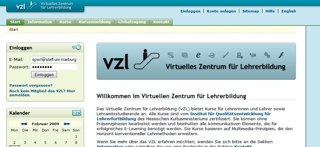Screenshot Virtuelles Zentrum für Lehrerbildung