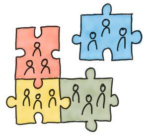 Illustration Gruppenpuzzle