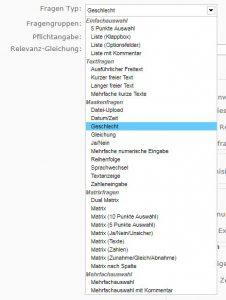 Screenshot des Auswahlmenüs der Fragentypen in Limesurvey