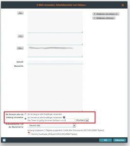 E-Mail mit Dokumentlink verfassen in BSCW