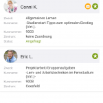 Lerngruppen App Screenshot Kontaktübersicht