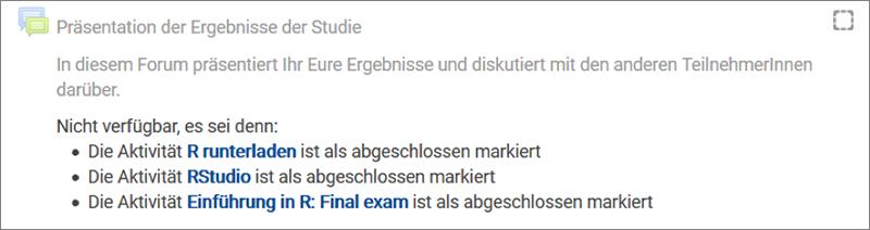 Screenshot: Aufgabe Präsentation der Ergebnisse