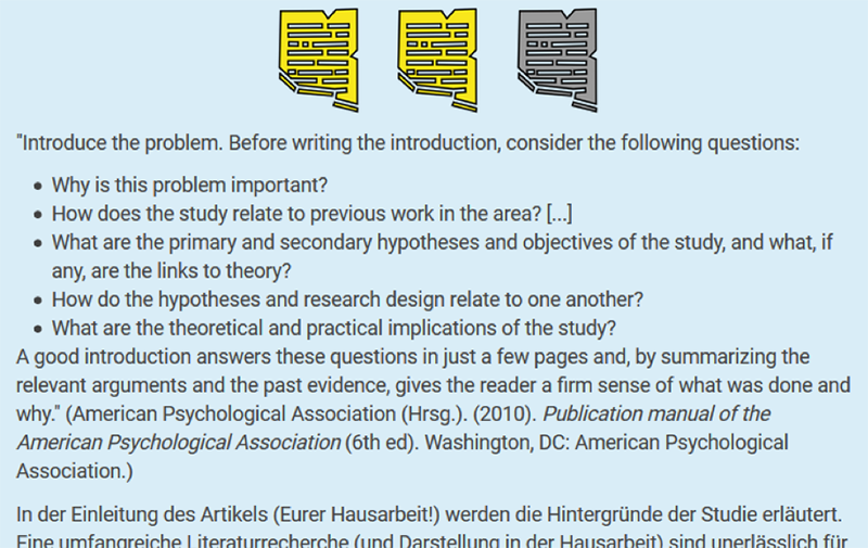 Screenshot: Fortschritt Aktivität, Studierendenansicht