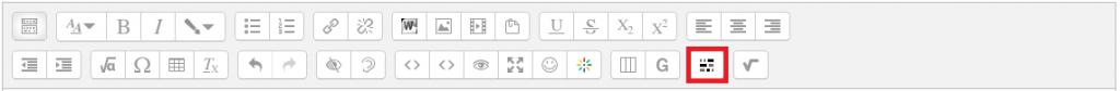 Der Button für den Cloze Editor findet man in der zweiten Zeile der Symbolleiste