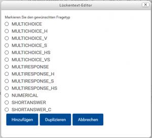 Alle zur Auswahl stehenden Fragetypen, die mit dem Cloze Editor erstellt werden können.