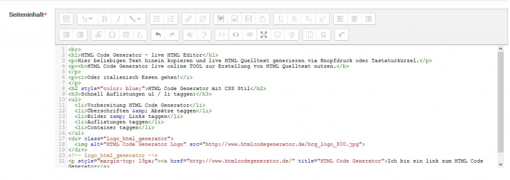 Ansicht des HTML+ Editors
