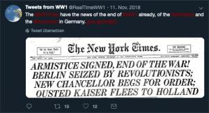Screenshot eines Tweets des Accounts @RealTimeWW1