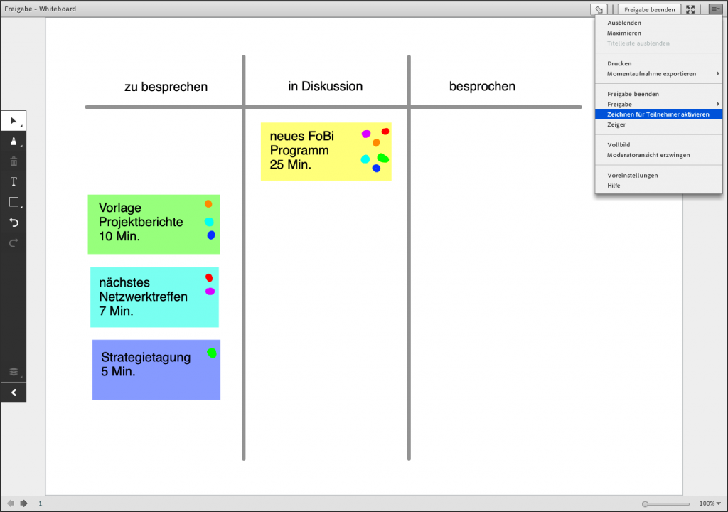 Screenshot eines Kanban Boards in der Whiteboard-Freigabe in Adobe Connect