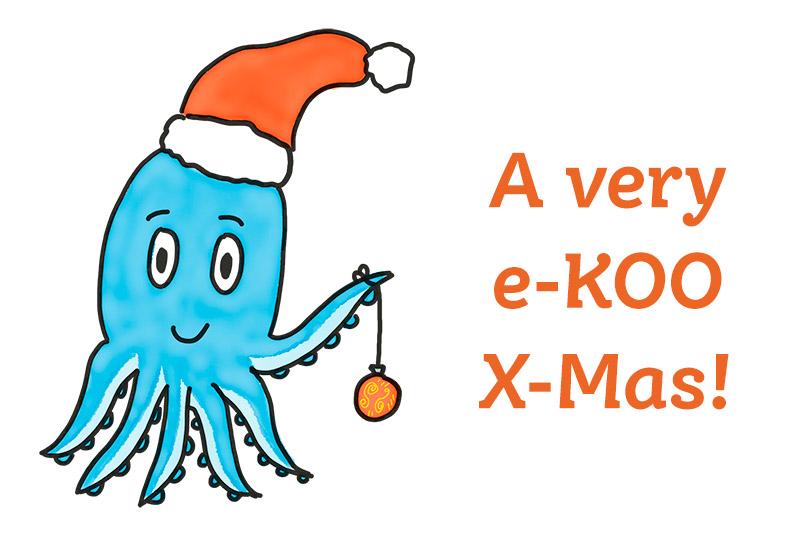 Die e-KOO-Krake mit Weihnachtsmütze und Weihnachtswunsch