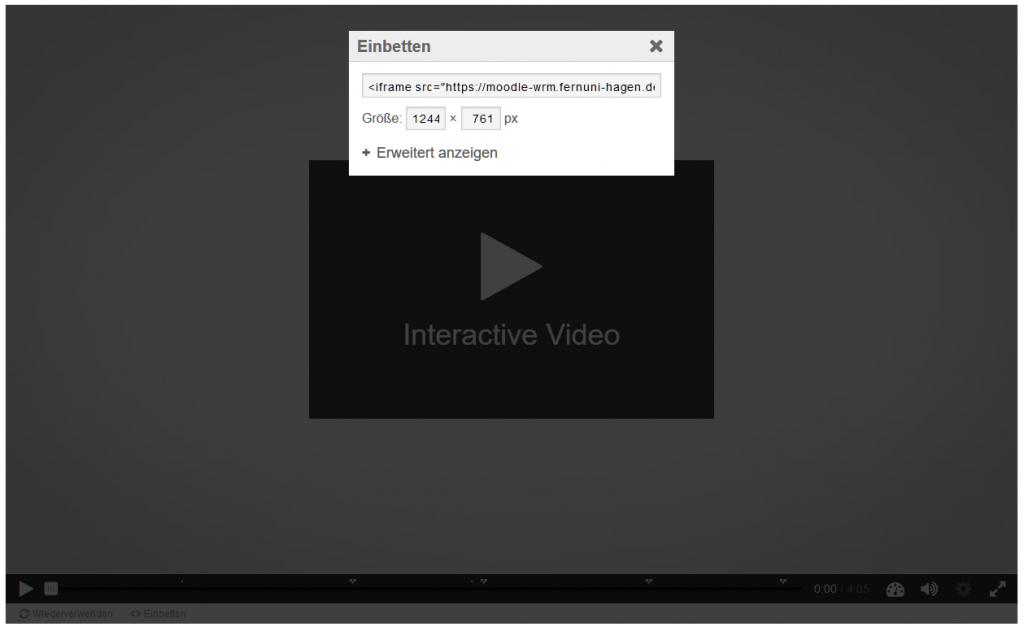 Screenshot von einem H5P Video, wo der Embed-Code zu sehen ist