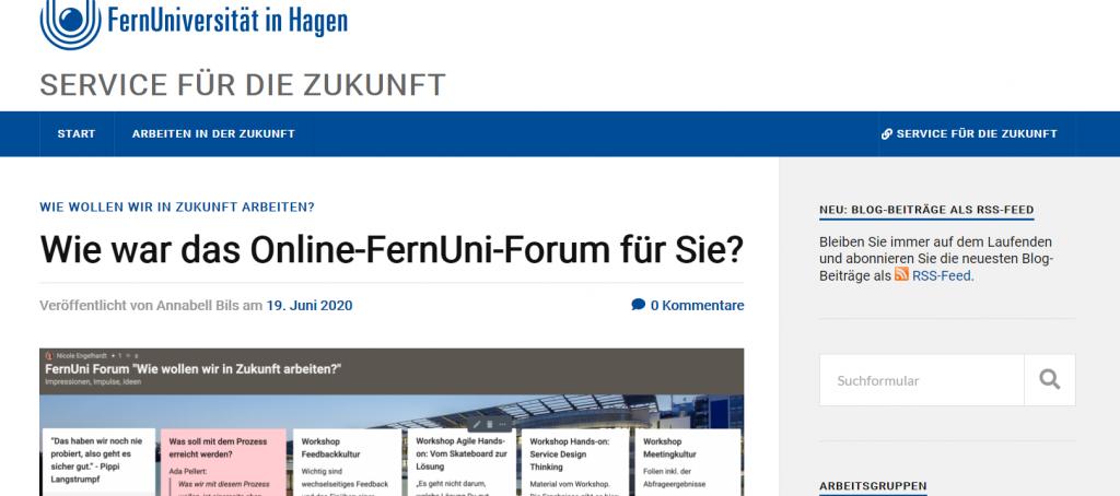 Screenshot des Blogs Service für die Zukunft mit Link zum Feed