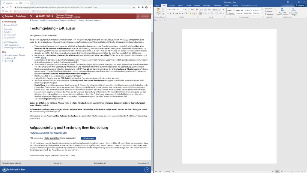Screenshot Ansicht der Open Book Klausur für Studierende