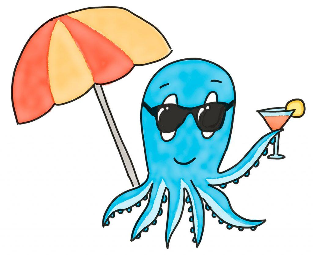 Sommerpause: Krake Paul mit Sonnebrille, Cocktail und Sonnenschirm