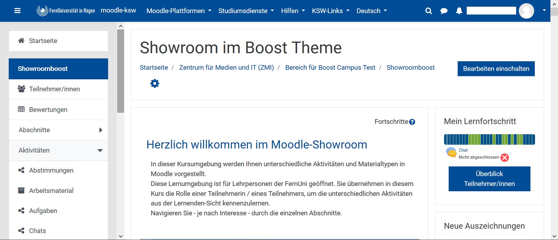 Ein Screenshot von dem Showroom im Boost Theme