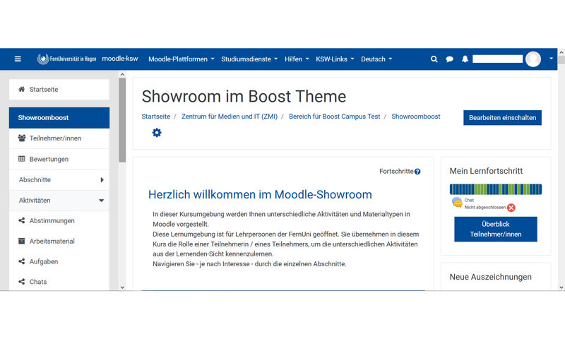Screenshot Moodle Boost Theme - Showroom