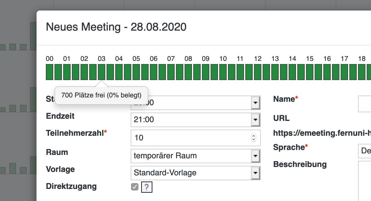 Screenshot Connectportal Meeting buchen