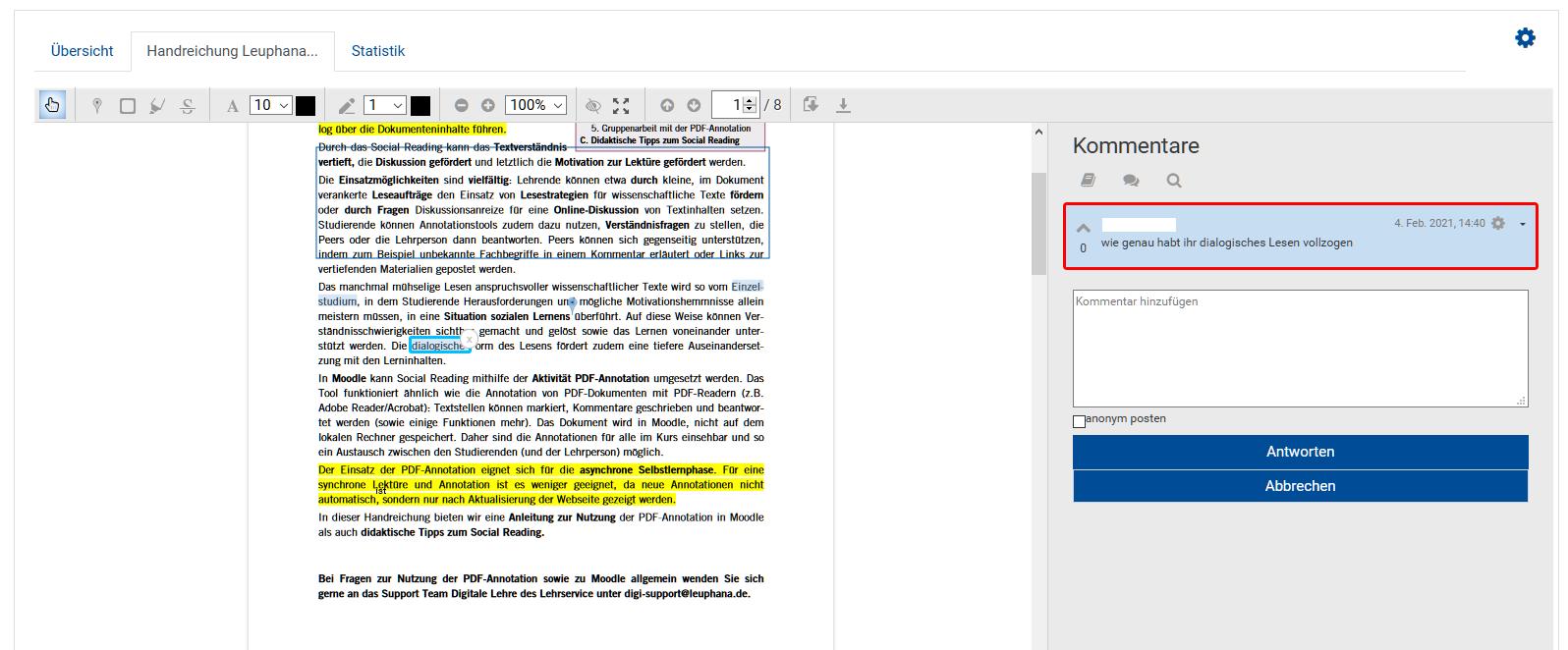 Beispiel für eine PDF Annotation