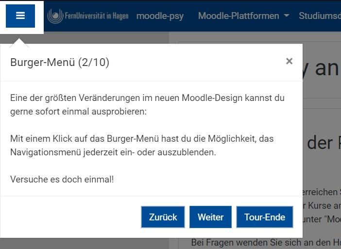 Screenshot eines interaktiven Elements in einer User-Tour: Beispiel Burger-Menü