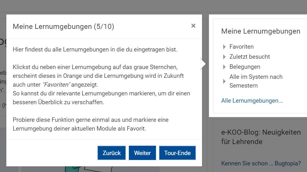 Screenshot eines interaktiven Elements in einer User-Tour: Beispiel Favoriten