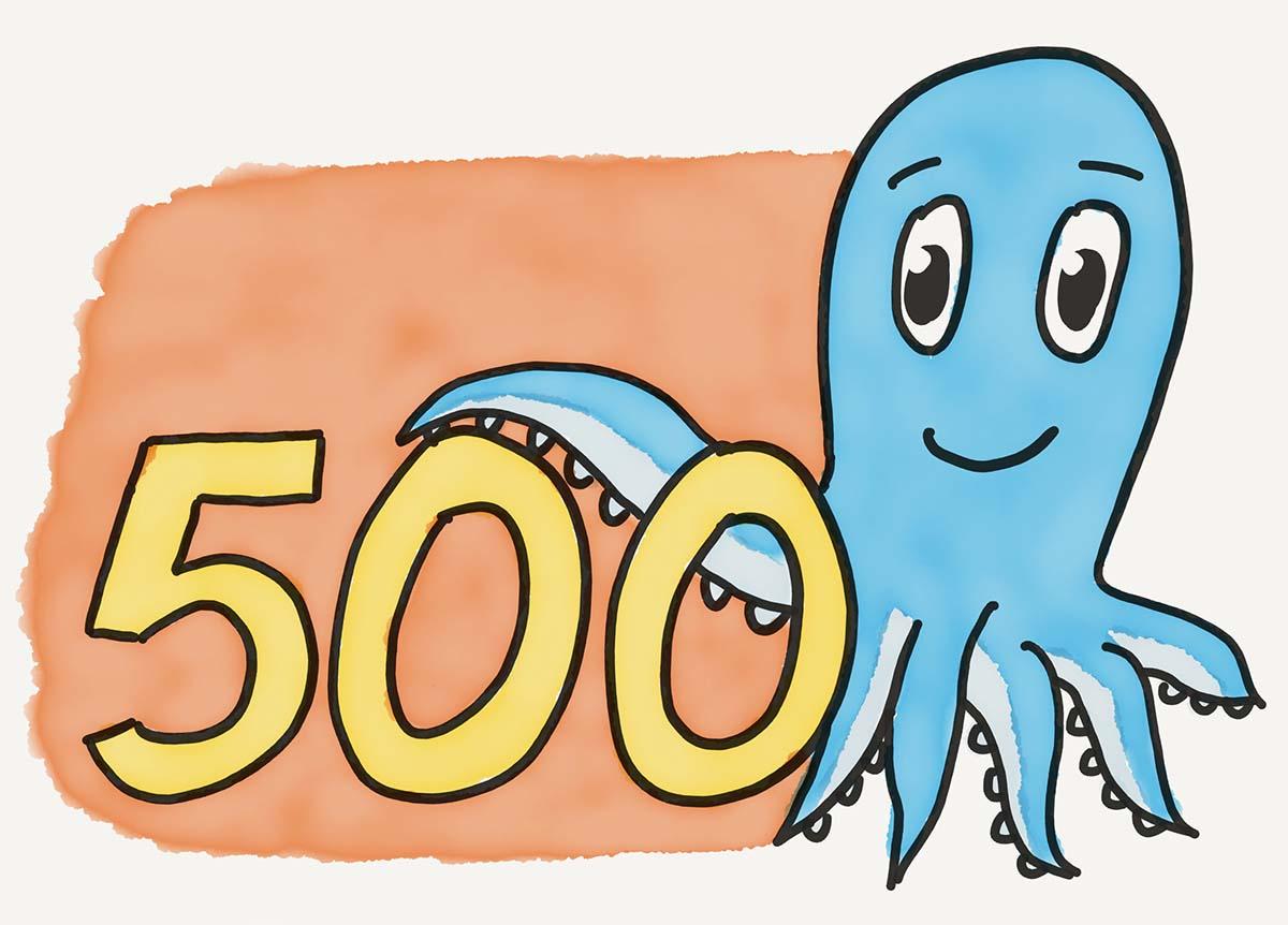 Krake Paul mit einer 500
