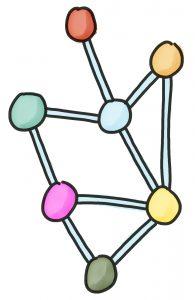 Illustration Netzwerk, verknüpfte bunte Punkte
