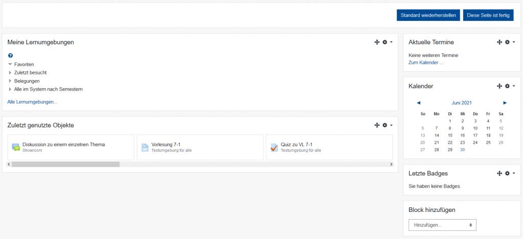 Screenshot vom Standard Dashboard in Moodle 3.9