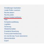 Screenshot von den Einstellungen in einer Moodle Aktivität, wo das Einfrieren von Kontexten für Manager*innen zu finden ist