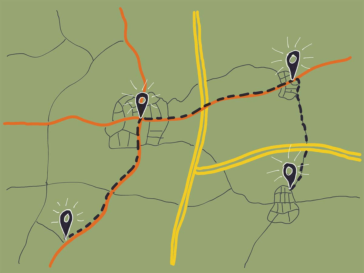 Illustration Landkarte mit Wegpunkten und Verbindungslinie