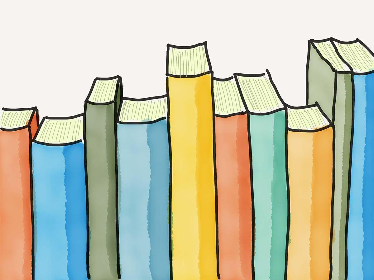 Illustration verschiedenfarbige Bücher